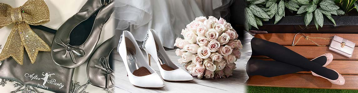 Wedding White Flat Shoes in a Bag - UK